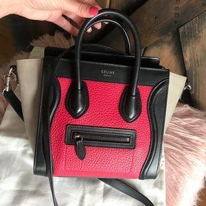 Celine Crossbody hand bag purse nano tricolor